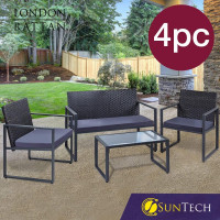 LONDON RATTAN 4PC Outdoor Furniture Setting Patio Wicker Set Table Chairs Garden