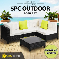 LONDON RATTAN Modular Sofa Outdoor Lounge Set 5pc Wicker Black Cream