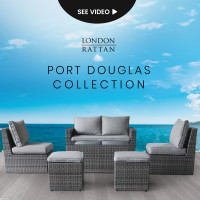 LONDON RATTAN 6pc Outdoor Furniture Wicker Lounge Set with Chairs Ottomans and Coffee Table