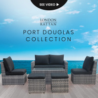 LONDON RATTAN 6pc Outdoor Furniture Wicker Lounge with Chairs Ottomans and Coffee Table Set
