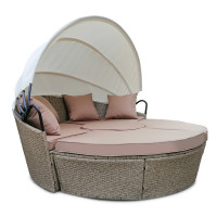 LONDON RATTAN Outdoor Day Bed 4-Piece Set, Light Brown Wicker, White Canopy
