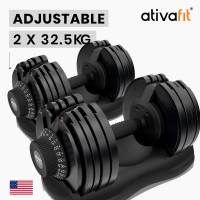 ATIVAFIT 2 x 32.5kg Adjustable Weight Dumbbell Set, for Home Gym Fitness Training