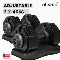 ATIVAFIT 2 x 40kg Adjustable Weight Dumbbell Set, for Home Gym Fitness Strength Training