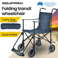 EQUIPMED Ultra-Light Foldable Transport Transit Wheelchair, Blue