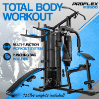 Proflex Blue Multi Station Home Gym Set with 125lbs Plates & Boxing Bag- M9500