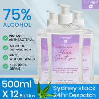 LOVEMEE 12 x 500ml 75% Alcohol Anti-Bacterial Hand Sanitiser Gel with Aloe Vera Pump Bottle Bulk Pack