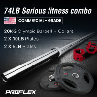 PROFLEX 20kg Olympic Barbell with Collars, and Pairs of Weight Plates, 5lb,10lb