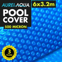 AURELAQUA Solar Swimming Pool Cover 500 Micron Heater Bubble Blanket 6x3.2m Blue