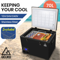 GECKO 70L 12V/24V/240V Portable Camping Fridge Freezer for Caravan Car Black