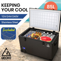 GECKO 85L 12V/24V/240V Portable Camping Fridge Freezer for Caravan Car Black