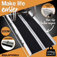 EQUIPMED 122cm Portable Folding Aluminium Access Ramp, Black Ultra-Grip, for Wheelchair, Mobility Scooter