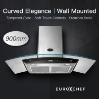 EuroChef Rangehood 900MM Stainless Steel Curved Glass Wall Mount Range Hood LED