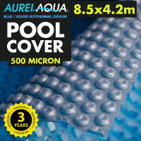 AURELAQUA Solar Swimming Pool Cover 500 Micron Heater Bubble Blanket 8.5x4.2m Blue and Silver