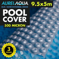 AURELAQUA Solar Swimming Pool Cover 500 Micron Heater Bubble Blanket 9.5x5m