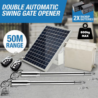 SIMTECH 600kg Solar Powered Electric Swing Double Gate Opener 50M-Range Remote