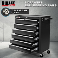 BULLET 6 Drawer Tool Box Cabinet Trolley Garage Toolbox Storage Mechanic Chest Black