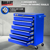 BULLET 6 Drawer Tool Box Cabinet Trolley Garage Toolbox Storage Mechanic Chest Blue