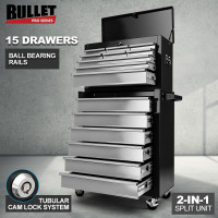PRE-ORDER BULLET 15 Drawer Tool Box Storage Cabinet Chest Garage Trolley Mechanic Toolbox