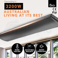 BIO 3200W 240V Outdoor Strip Heater Electric Radiant Slimline Panel Heat Bar