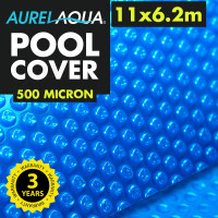 AURELAQUA Solar Swimming Pool Cover 500 Micron Heater Bubble Blanket 11x6.2m