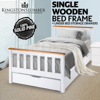 Kingston Slumber Pine Wood & Timber Slats Single Bed Frame with Storage Drawer