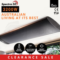 BIO 3200W Outdoor Strip Heater Electric Radiant Slimline Panel Heat Bar 1.6m