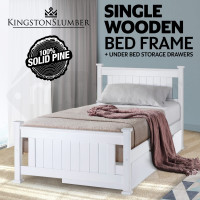 Kingston Slumber Contemporary Classic Single Wooden Bed Frame with Storage Drawer