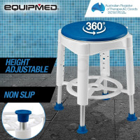 EQUIPMED Adjustable Bath Shower Seat Chair Stool Swivel Rotating Bath Aid