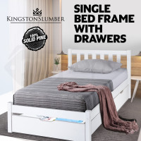 Kingston Slumber Single Wooden Bed Frame with Trundle Storage Drawer