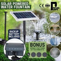 25W Solar Powered Fountain Submersible Water Pump with Battery Pond Kit Garden