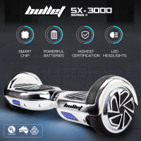 BULLET Hoverboard Scooter Self-Balancing Electric Hover Board Chrome Skateboard
