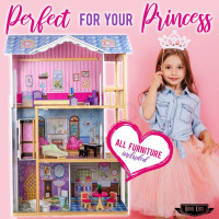 Rovo Kids Wooden Doll House Girls Pretend Play Furniture 3 Level Large Toy Dollhouse Pink