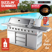 EuroGrille 8 Burner BBQ Outdoor Barbeque Gas Stainless Steel Kitchen