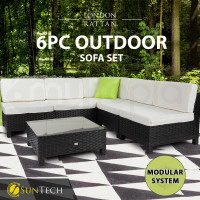 LONDON RATTAN Modular Sofa Outdoor Furniture Set 6pc Wicker Black Light Grey