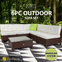 LONDON RATTAN Modular Sofa Outdoor Furniture Set 6pc Wicker Brown Cream