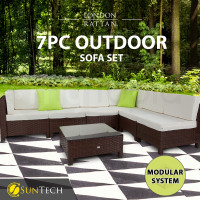 LONDON RATTAN Modular Sofa Outdoor Lounge Set 7pc Wicker Brown Beige