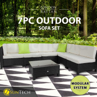 LONDON RATTAN Modular Sofa Outdoor Lounge Set 7pc Wicker Black Light Grey