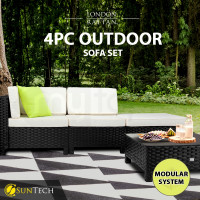 LONDON RATTAN Modular Sofa Outdoor Lounge Set 4pc Wicker Black Light Grey