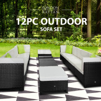 LONDON RATTAN Modular Sofa Outdoor Lounge Set 12pc Wicker Black Light Grey
