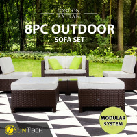 LONDON RATTAN Modular Sofa Outdoor Lounge Set 8pc Wicker Brown Cream