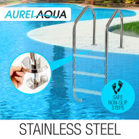 AURELAQUA 3 Wide Swimming Pool Ladder Stainless In-Ground Non-Slip Steps