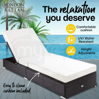 LONDON RATTAN Wicker Premium Outdoor Sun Lounge Pool Furniture Bed