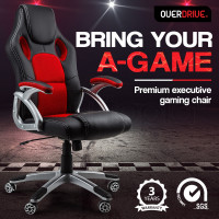 OVERDRIVE Racing Office Chair Seat Executive Computer Gaming PU Leather Deluxe