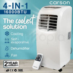 CARSON Portable Air Conditioner Mobile Fan Cooler Cooling Dehumidifier 16000BTU