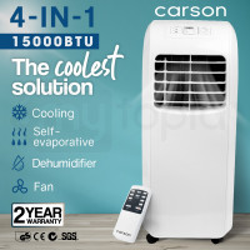 CARSON 4-in-1 Portable Air Conditioner Dehumidifier Fan Cooler Aircon 15000 BTU