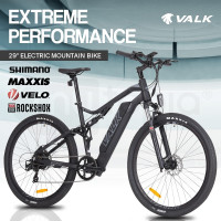 "VALK eMTB Maxxis Velo RockShox Dual Suspension eBike Electric Mountain Bike  29"" Black - MX9"