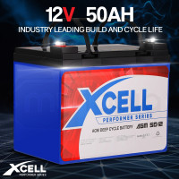 X-CELL AGM Deep Cycle Battery 12V 50Ah Portable Sealed Performer Series