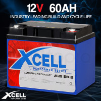 X-CELL AGM Deep Cycle Battery 12V 60Ah Portable Sealed Performer Series
