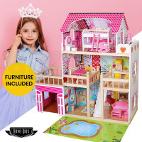 ROVO KIDS Pink Wooden Dollhouse Mansion with Furniture and LED Lighting