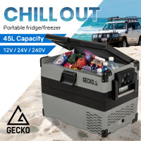 GECKO 45L Portable Fridge Freezer Cooler 12V/24V/240V Grey